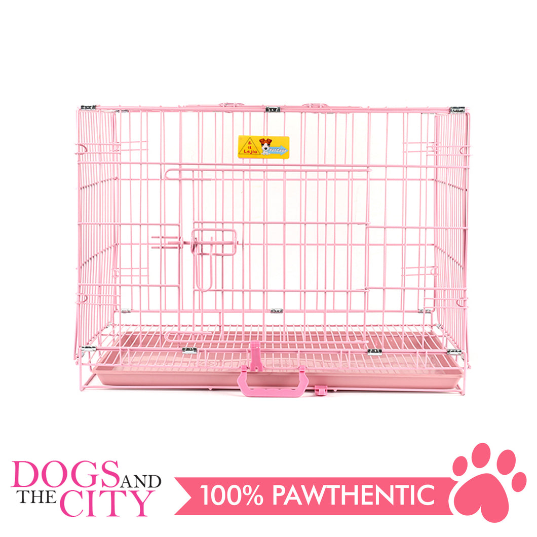 JX D216MA Foldable Pet Cage 75x48x57cm Size 3 Pink - All Goodies for Your Pet
