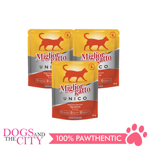 Morando Migliorgatto Unico Turkey Mousse 85g (3 packs) - Dogs And The City Online