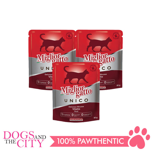 Morando Migliorgatto Unico Veal Mousse 85g Wet Food for Cats 100g (3 packs) - All Goodies for Your Pet