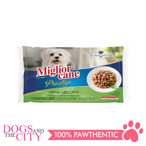 Morando Migliorcane Prestige Ham, Chicken, Turkey and Vegetable Dog Food 4x100g - All Goodies for Your Pet