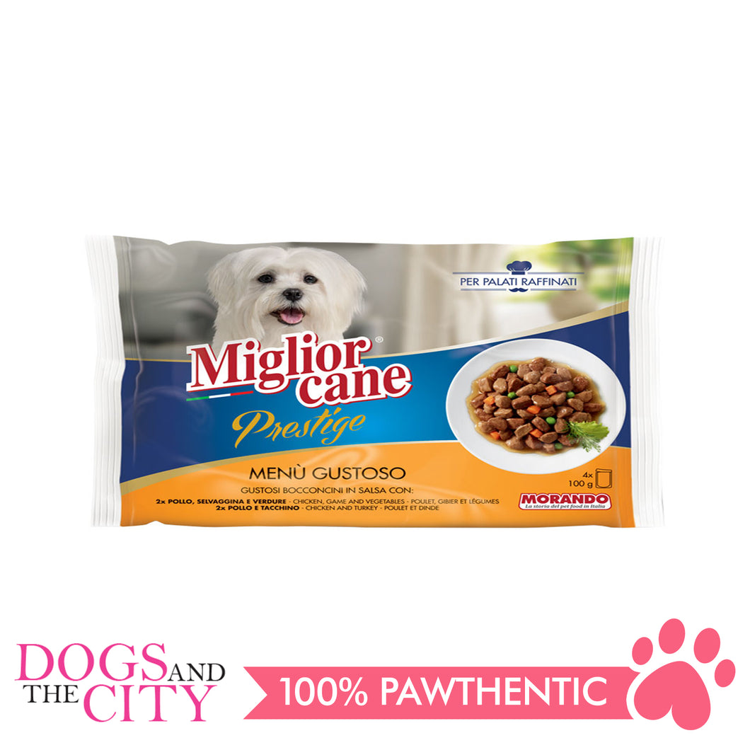 Morando Migliorcane Prestige Game, Vegetable, Chicken and Turkey Dog Food 4x100g - All Goodies for Your Pet