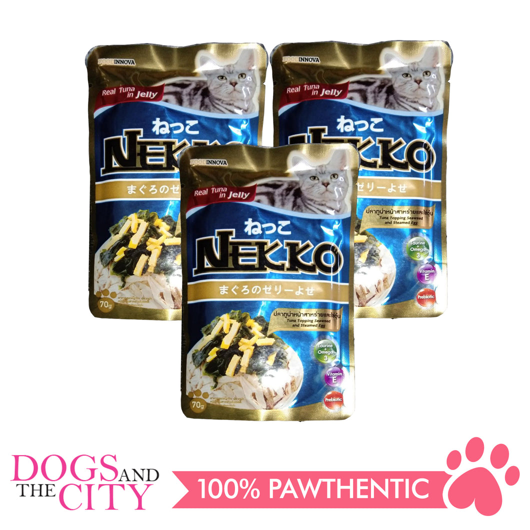 Nekko Cat Food Tuna Topping Seaweed and Egg 70g (3 packs) - All Goodies for Your Pet