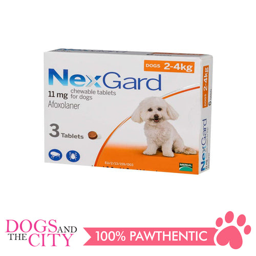 NexGard Chewable Tablets for Dogs, 2kg-4kg (Orange Box) 3 Tablets - Dogs And The City Online