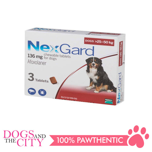 NexGard Chewable Tablets for Dogs, 25kg-50kg (Red Box) 3 Tablets - Dogs And The City Online