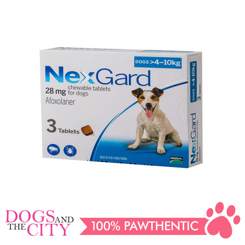 NexGard Chewable Tablets for Dogs, 4kg-10kg (Blue Box) 3 Tablets - Dogs And The City Online