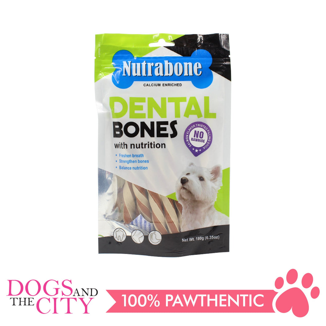 Nutrabone U004 Dental Bone Salmon Flavor Twisted Filling Stick180g - All Goodies for Your Pet