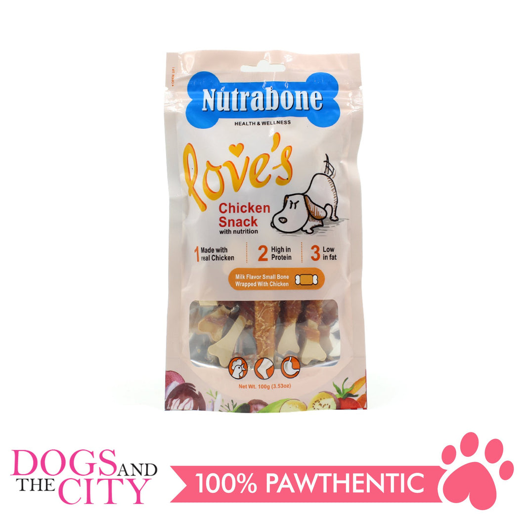 Nutrabone U006 Snack Milk Flavor Small Bone Wrapped with Chicken 100g - All Goodies for Your Pet