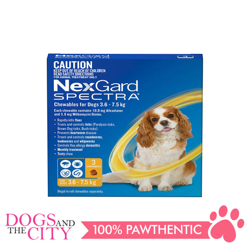 NexGard Spectra Chewable Tablets for Dogs, 3.5-7.5kg (Yellow Box) 3 Tablets - Dogs And The City Online