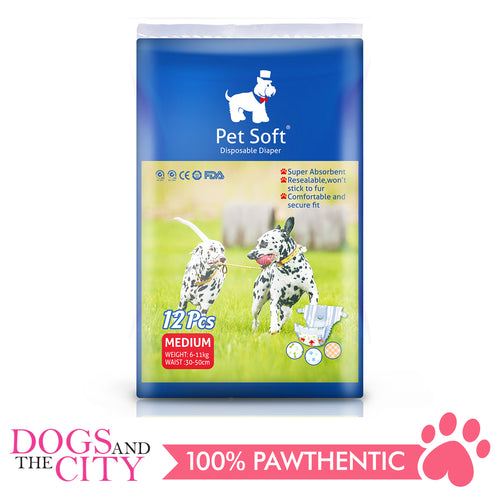 Pet Soft Disposable Diaper MEDIUM 12'S - Dogs And The City Online
