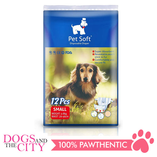 Pet Soft Disposable Diaper SMALL 12'S - Dogs And The City Online