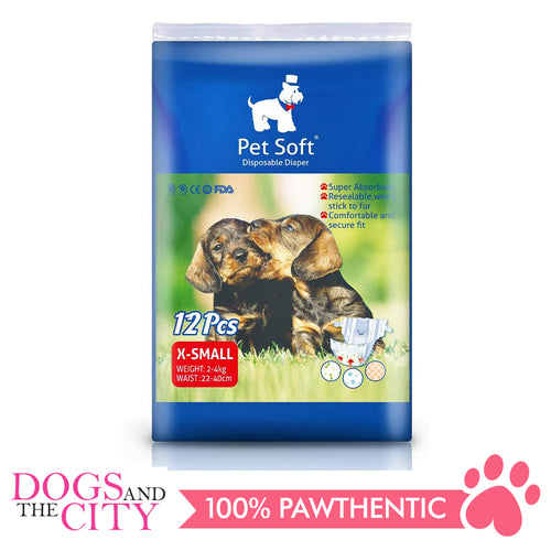 Pet Soft Disposable Diaper XS 12'S - Dogs And The City Online