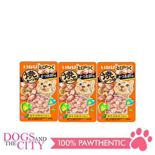 INABA QSC-215 Soft Bits Tuna & Chicken Fillet Dried Bonito Flavor Cat Wet Food 25g (3 packs)