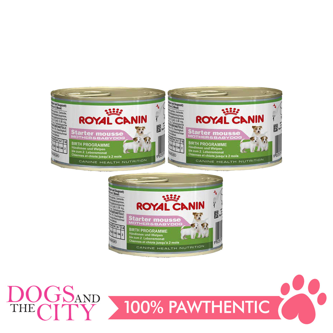 Royal Canin Puppy Food STARTER MOUSSE 195g (3 cans) - Dogs And The City Online