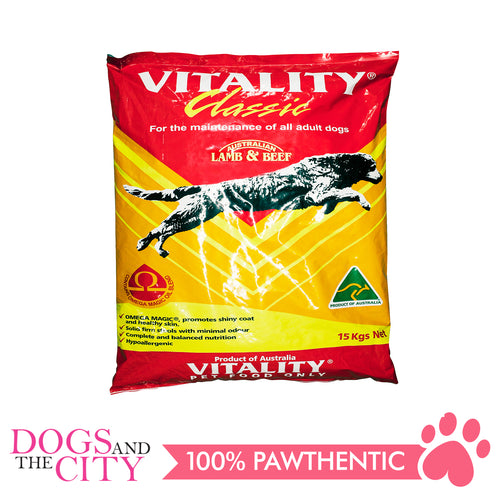 Vitality Classic Lamb and Beef Dog Dry Food 15kg - All Goodies for Your Pet