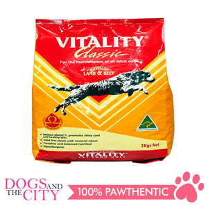 Vitality Classic Lamb and Beef Dog Dry Food 3kg - All Goodies for Your Pet
