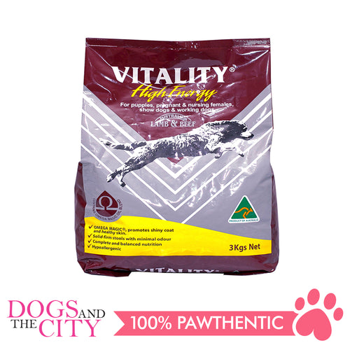 Vitality High Energy Lamb and Beef Dog Dry Food (Puppy) 3kg - All Goodies for Your Pet