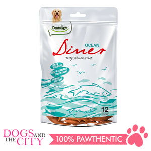 "Dentalight 8438 3"" Ocean Diner Tasty Salmon Dog Treats 12 Bones 180g - All Goodies for Your Pet"