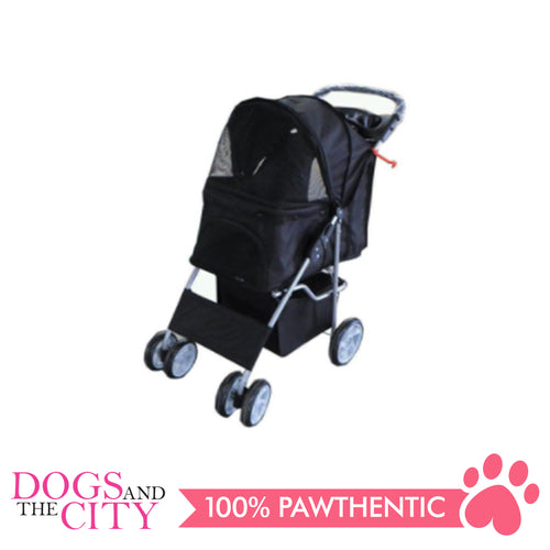 BM SP02 4 Wheel Stroller Black - All Goodies for Your Pet