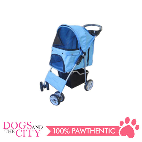 BM SP02 4 Wheel Pet Stroller Light Blue - All Goodies for Your Pet