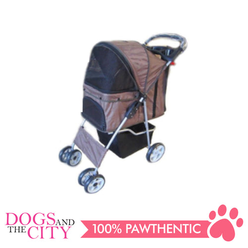 BM SP02 4 Wheel Pet  Stroller Brown - All Goodies for Your Pet