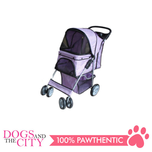 BM SP02 4 Wheel Pet Stroller Purple - All Goodies for Your Pet