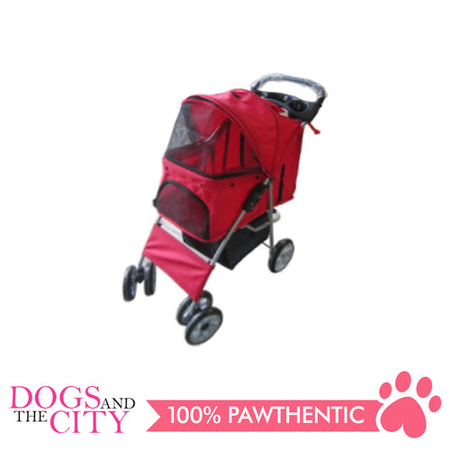 BM SP02 4 Wheel Pet Stroller Red - All Goodies for Your Pet