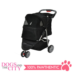 BM SP03 3 Wheel Pet Stroller Black - All Goodies for Your Pet