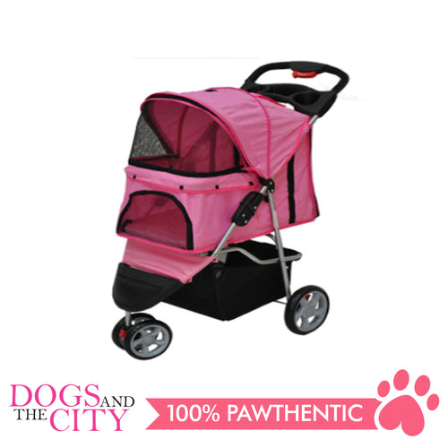 BM SP03 3 Wheel Pet Stroller Pink - All Goodies for Your Pet