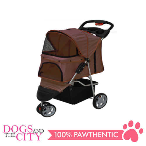 BM SP03 3 Wheel Pet Stroller Brown - All Goodies for Your Pet