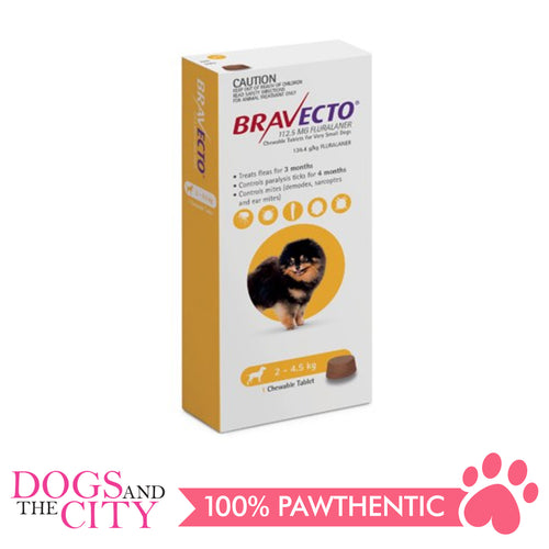 Bravecto XS (2.5-4.5kg) Anti Tick and Flea Chewable Tablet for Dogs