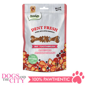 "Dentalight 9558 Dent Fresh 3"" 360° Toothbrush Mixed Berry 18 pieces Dog Dental Chews - Dogs And The City Online"