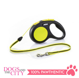Flexi Retractable Dog Leash Neon Cord Small up to 12kg