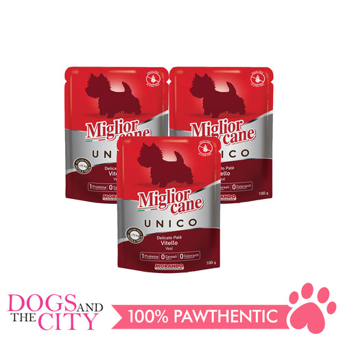 Morando Migliorcane Unico Veal Pate Wet Dog Food 100g (3 packs) - Dogs And The City Online