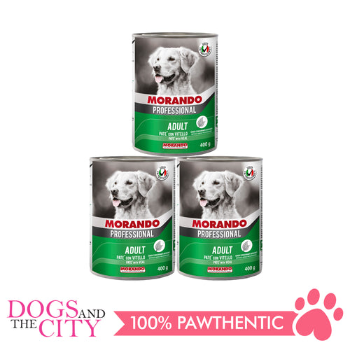 Morando Professional Pate Veal Dog Food Can 400g (3 cans) - All Goodies for Your Pet