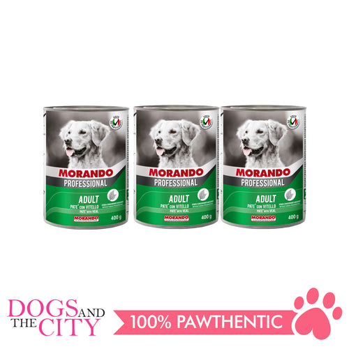 Morando Professional Pate Veal Dog Food Can 400g (3 cans) - Dogs And The City Online