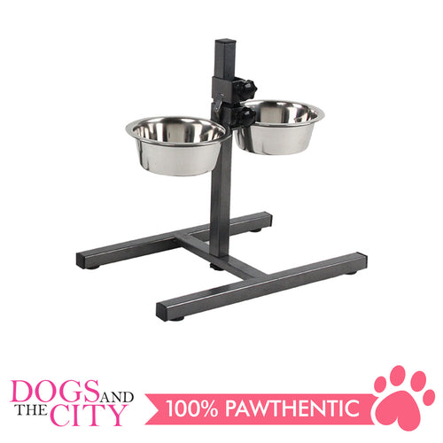Pawise 11016 Adjustable Double Bowl Feeder 750ml for Dogs and Cats - All Goodies for Your Pet