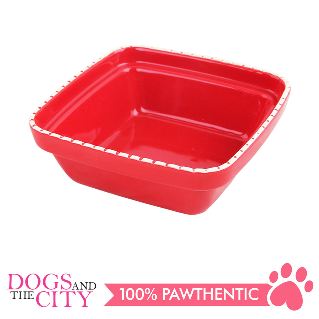 Pawise 11153 Verona Dog Ceramic bowl 1250ml Red 24x24x7.5cm - All Goodies for Your Pet