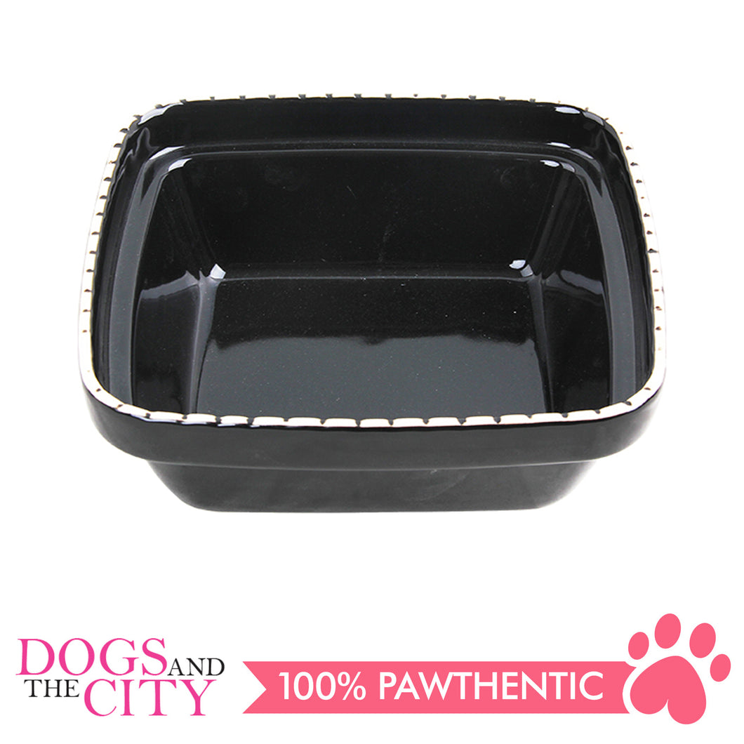 Pawise 11159 Verona Dog Ceramic bowl 900ml Black 20x20x7cm - All Goodies for Your Pet