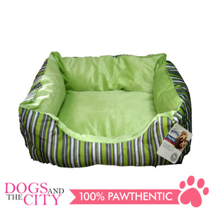 Pawise 12308 Dog Bed Cuddler Green Strip 50cm - All Goodies for Your Pet