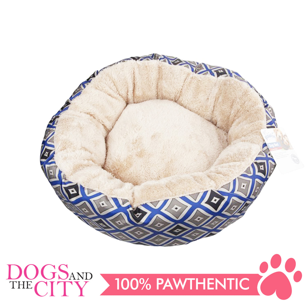 Pawise 12339 Round Dog Bed Blue 25 Inches/61x61x17.8cm - All Goodies for Your Pet