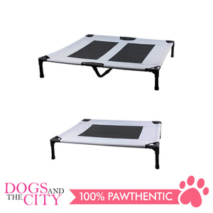 Pawise 12372 Pet Cot Raised Comfort Bed Grey for Dog and Cat 76x62x18cm