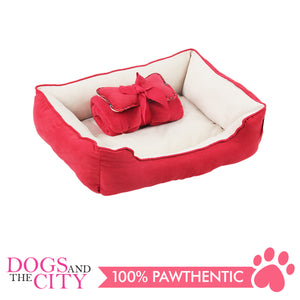 Pawise 12400 Pet Bed w/Blanket & Bone Red 44.5x41x17cm - All Goodies for Your Pet