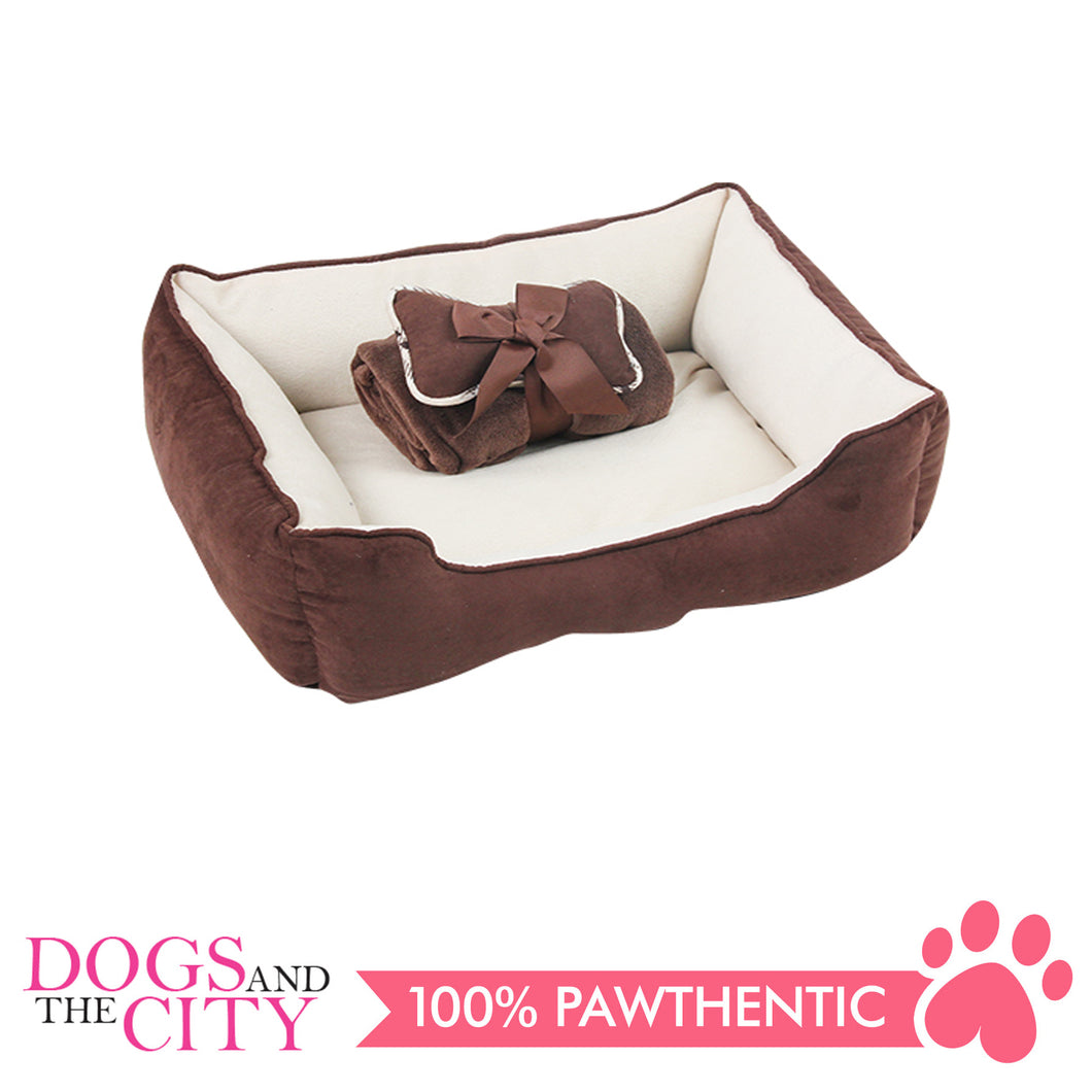 Pawise 12403 Pet Bed w/Blanket & Bone Coffee 44.5x41x17cm - All Goodies for Your Pet