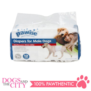 Pawise 12977 Dog Disposible Male Wraps 12pcs Medium for 15-45 lbs - All Goodies for Your Pet
