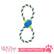 Load image into Gallery viewer, Pawise 14861 Dog Toy Figure 8 Rope and Tennis Ball 30cm