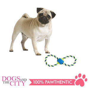 Pawise 14861 Dog Toy Figure 8 Rope and Tennis Ball 30cm