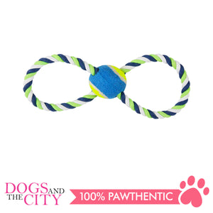 Pawise 14861 Dog Toy Figure 8 Rope and Tennis Ball 30cm - All Goodies for Your Pet