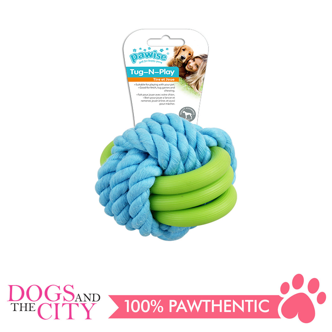 Pawise 14871 Twins Rope Ball Dog Toy 7cm - All Goodies for Your Pet