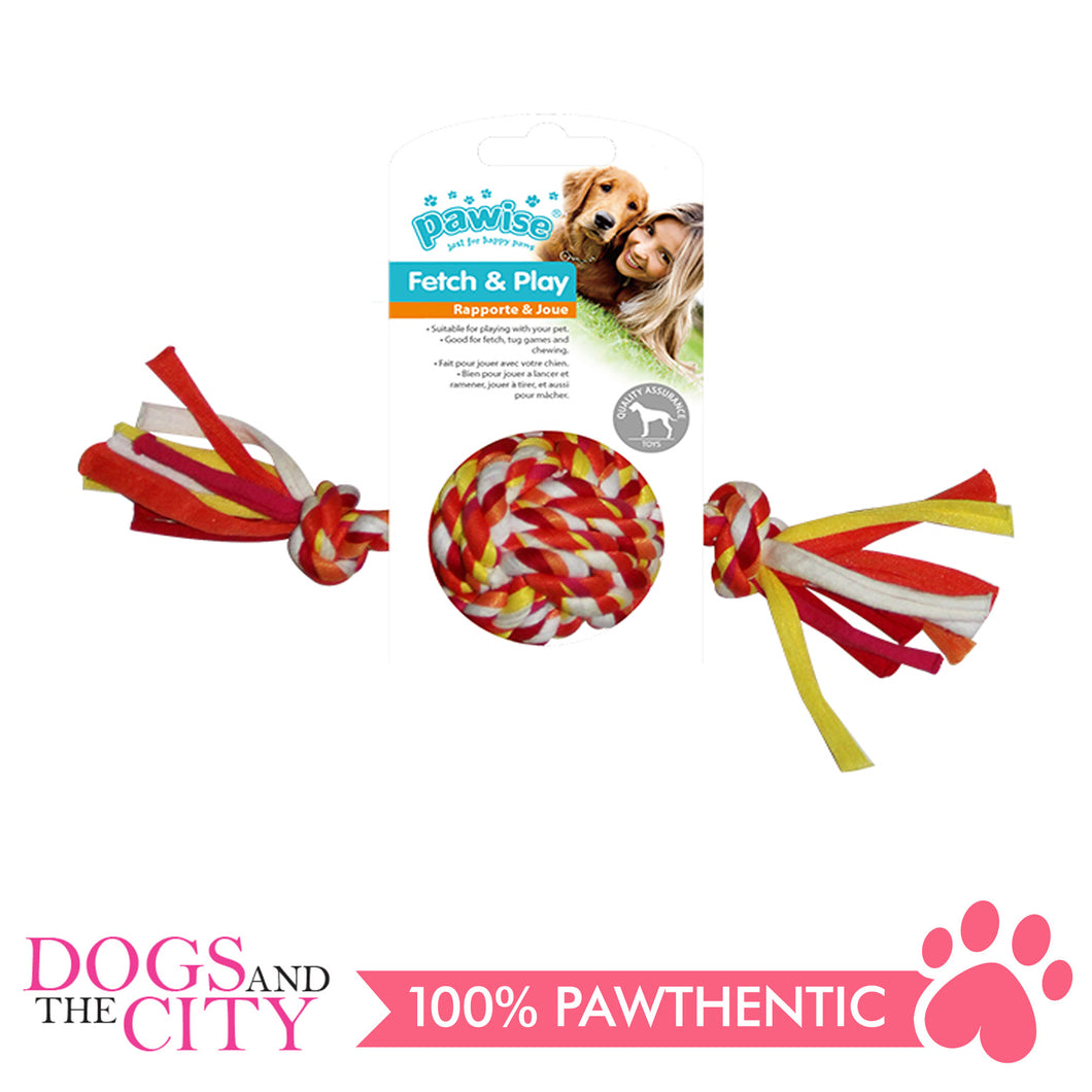 Pawise 14878 Colorful Braided Rope with Ball Dog Toy 25cm - All Goodies for Your Pet
