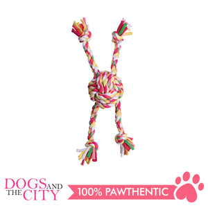 Pawise 14878 Colorful Braided Rope with Ball Dog Toy 25cm